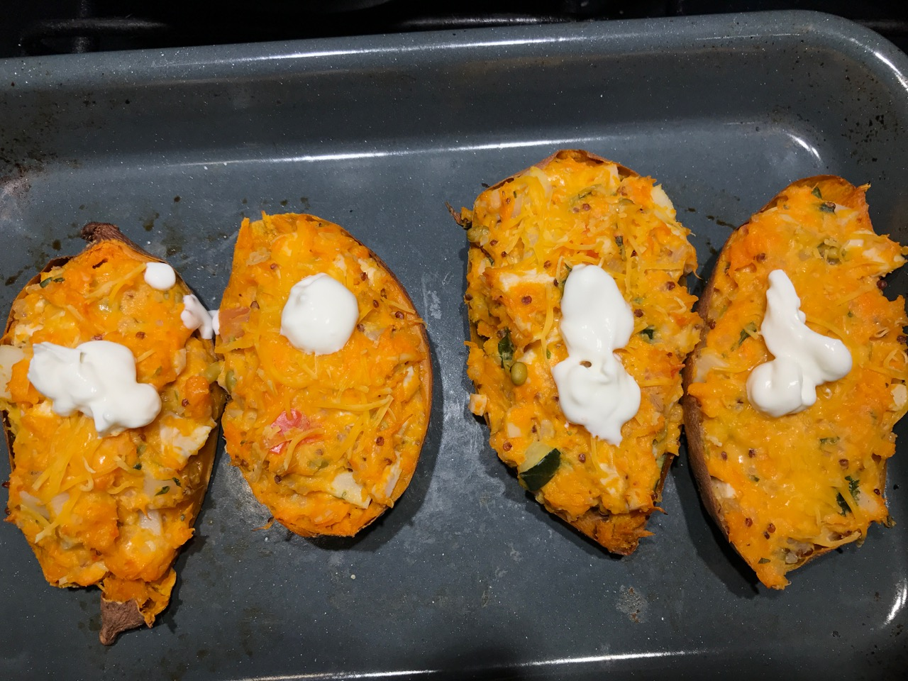 Twice Baked Chicken Quinoa Sweet Potatoes Cooking With Leftovers When You Refuse To Waste