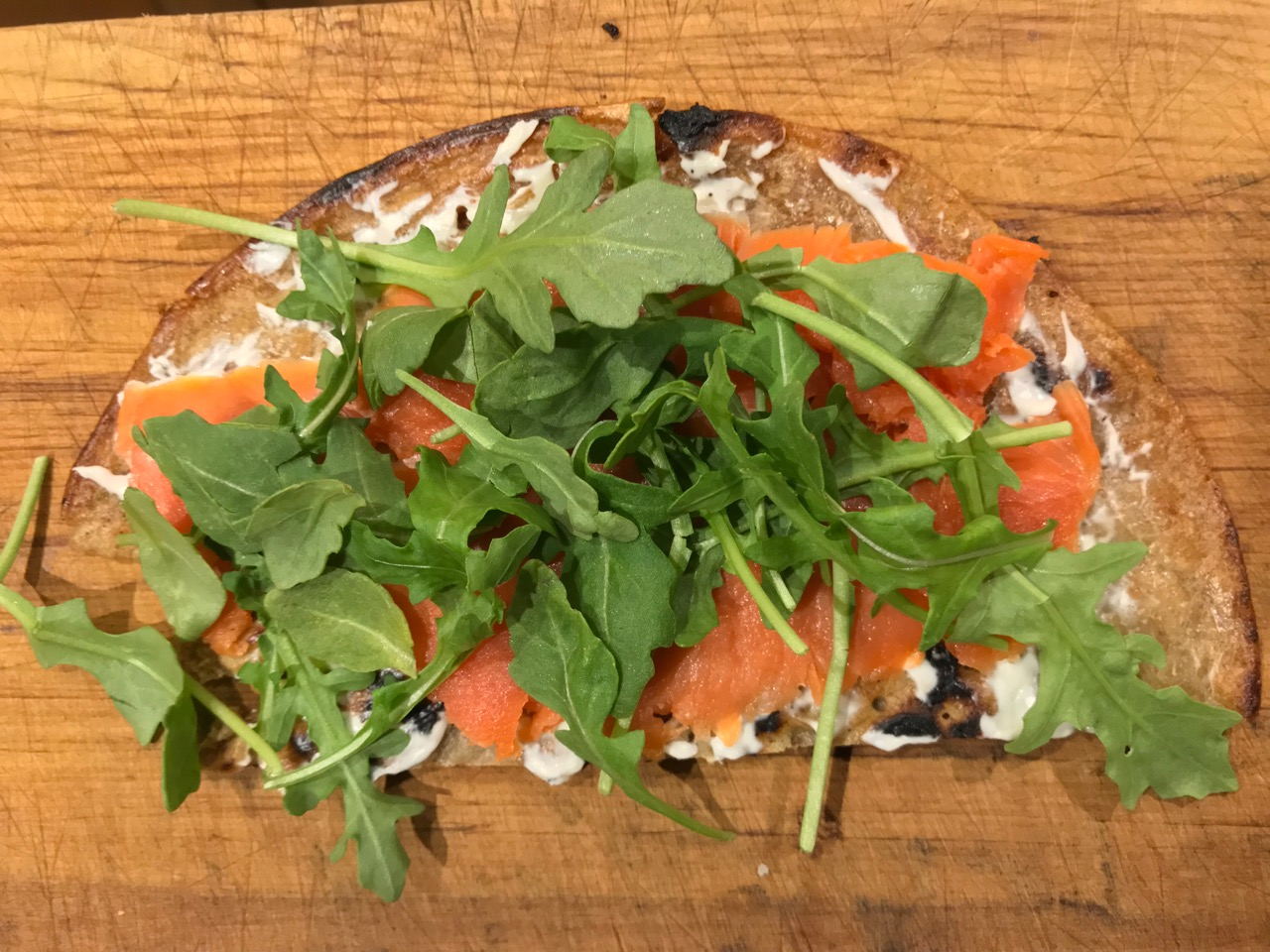 sourdough crumpet with lox