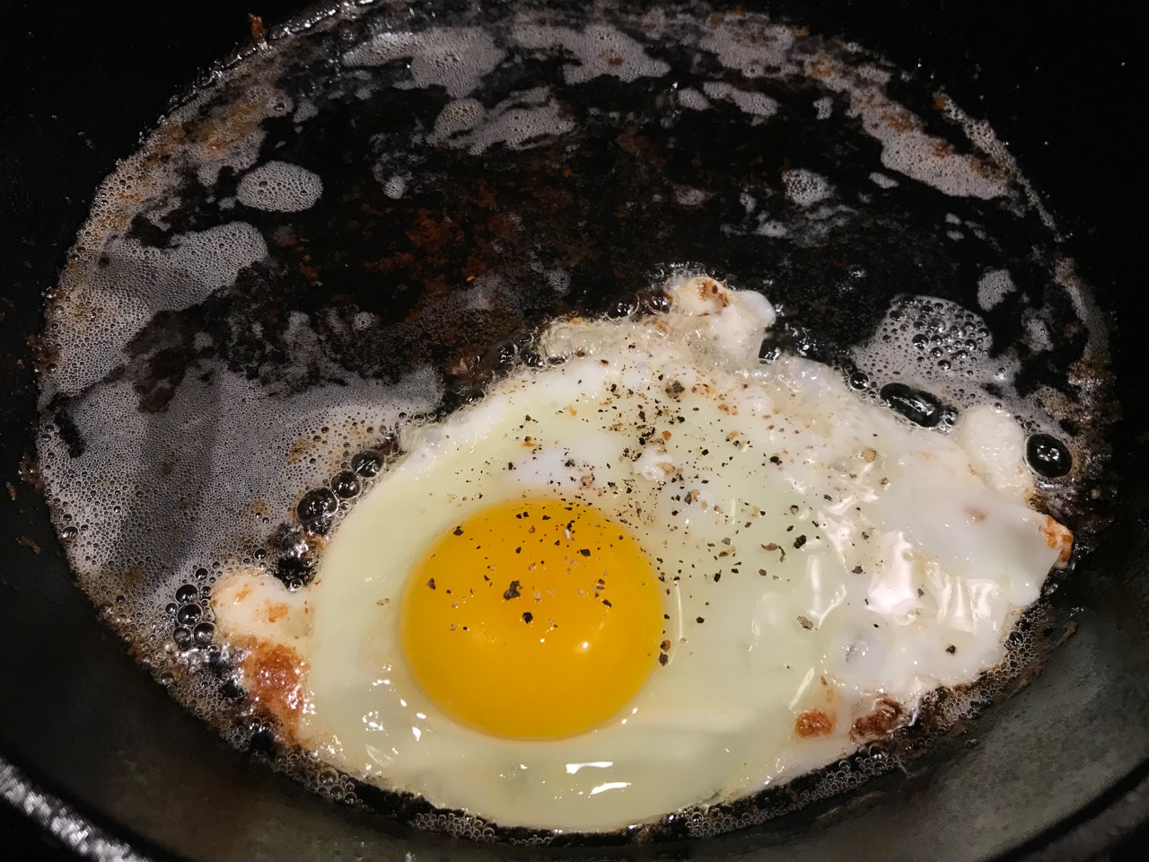 eggs fried in bacon grease
