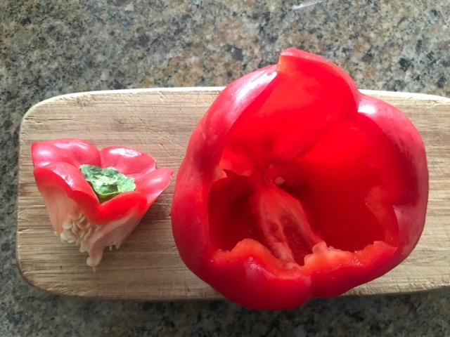cut out the inside of the pepper