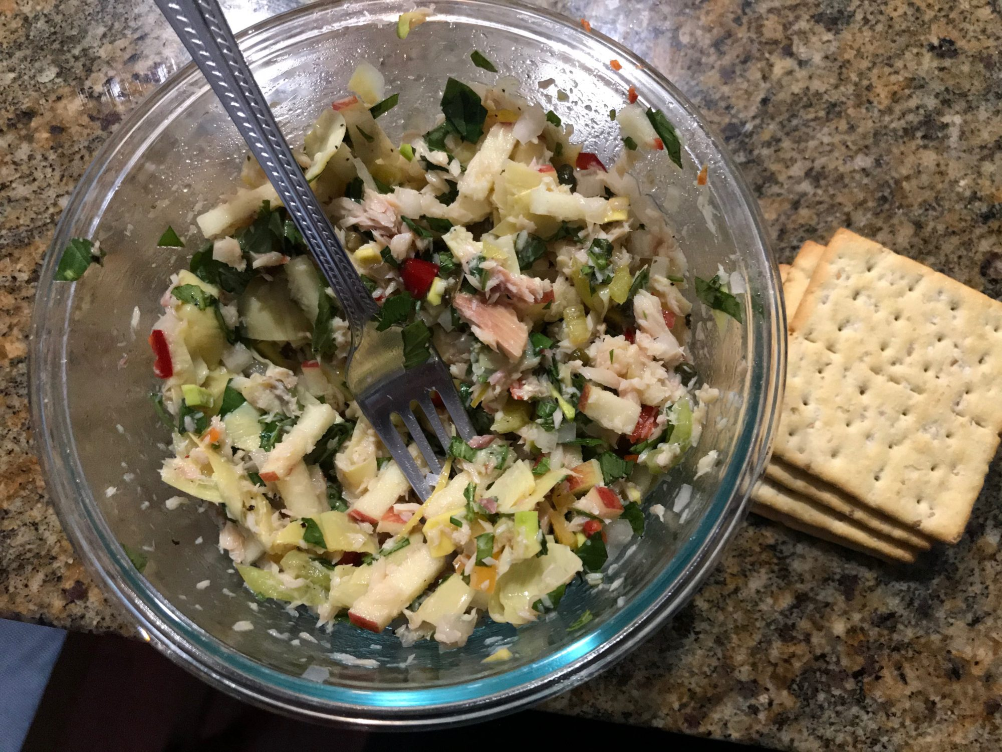 finished slaw with crackers