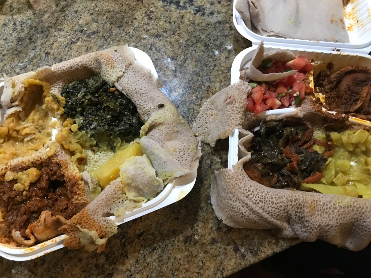 Ethiopian takeout food trays