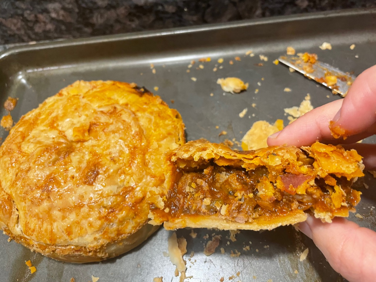 cross section of a the inside of a mini hand pie