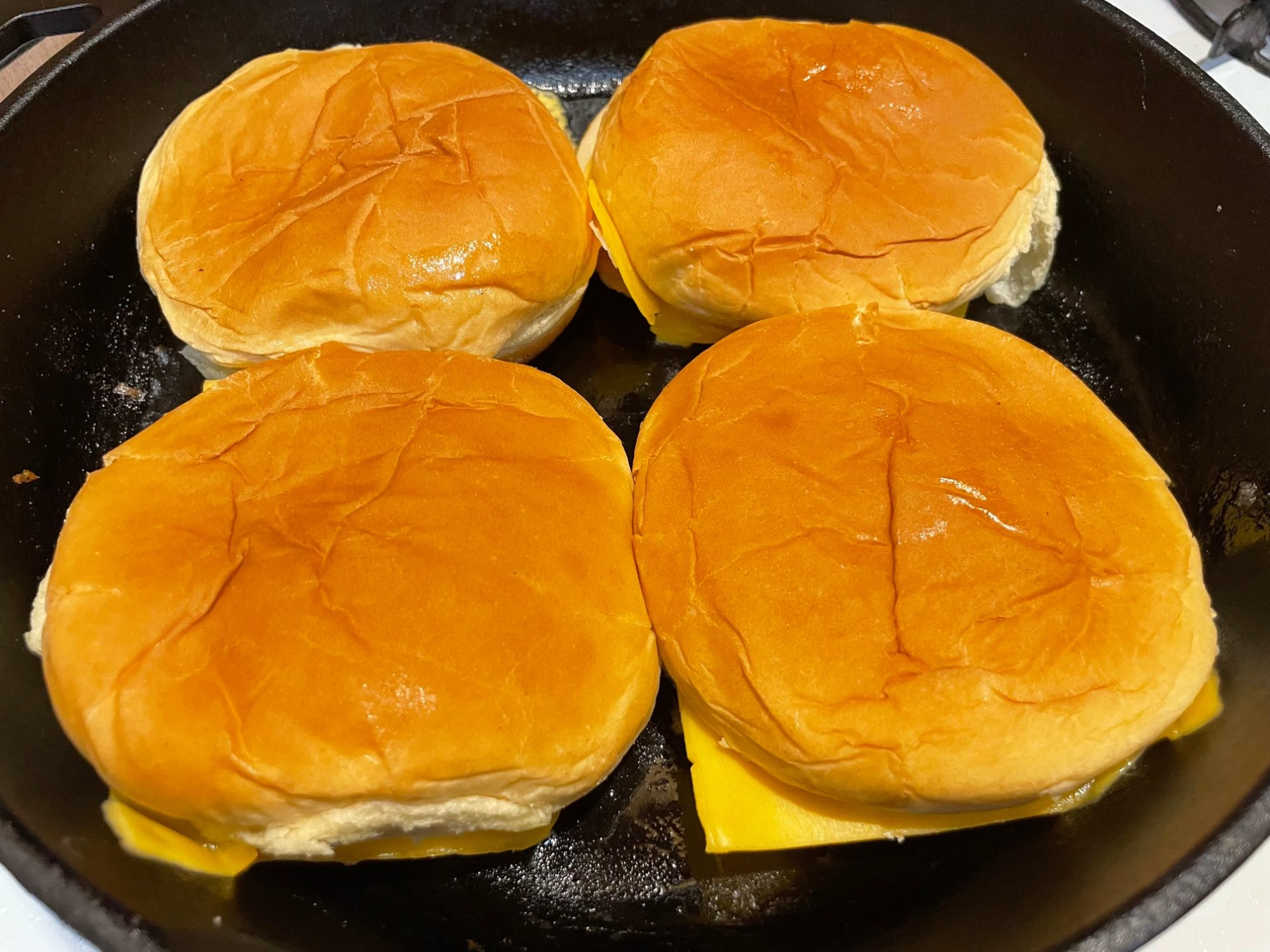 the buns in the pan before cooking